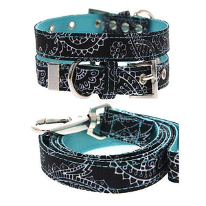 Black and Blue Paisley Fabric Dog Collar And Lead Set - Posh Pawz Fashion