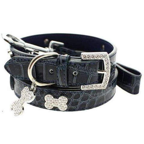 Blue Crocodile Leather Diamante Bone Dog Collar And Lead Set - Posh Pawz Fashion