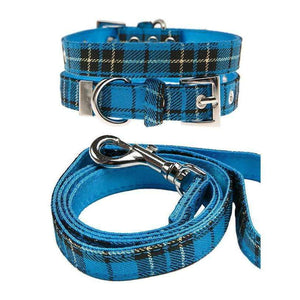 Blue Tartan Fabric Dog Collar And Lead Set - Posh Pawz Fashion