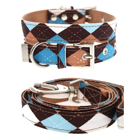 Brown And Blue Argyle Dog Collar And Lead Set - Posh Pawz Fashion