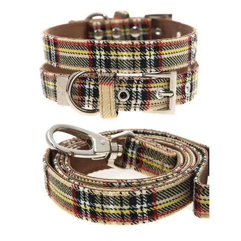 Brown Tartan Designer Fabric Dog Collar and Lead Set - Posh Pawz Fashion