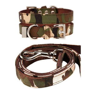 Camouflage Fabric Dog Collar And Lead Set - Posh Pawz Fashion