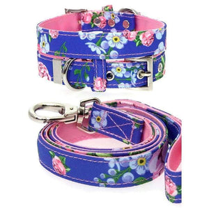 Floral Burst Fabric Dog Collar And Lead Set - Posh Pawz Fashion