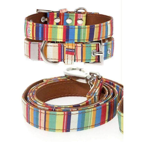Henley Striped Fabric Dog Collar And Lead Set - Posh Pawz Fashion