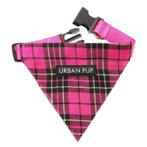 Hot Pink Checked Tartan Fabric Dog Bandana - Posh Pawz Fashion
