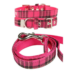 Hot Pink Tartan Fabric Dog Collar And Lead Set - Posh Pawz Fashion