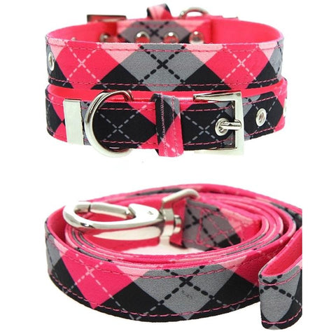 Pink Argyle Fabric Dog Collar And Lead Set - Posh Pawz Fashion