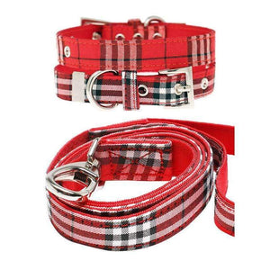 Red Checked Tartan Fabric Dog Collar and Lead Set - Posh Pawz Fashion
