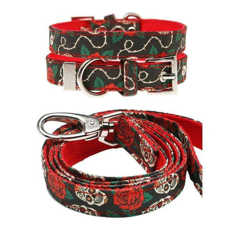 Skull And Roses Fabric Dog Collar And Lead Set - Posh Pawz Fashion