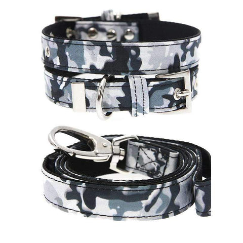 Urban Camouflage Fabric Dog Collar And Lead Set - Posh Pawz Fashion