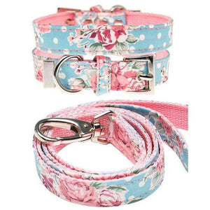 Vintage Rose Floral Fabric Dog Collar And Lead Set - Posh Pawz Fashion