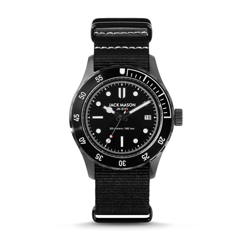 black 42mm diver watch with black nylon watch strap