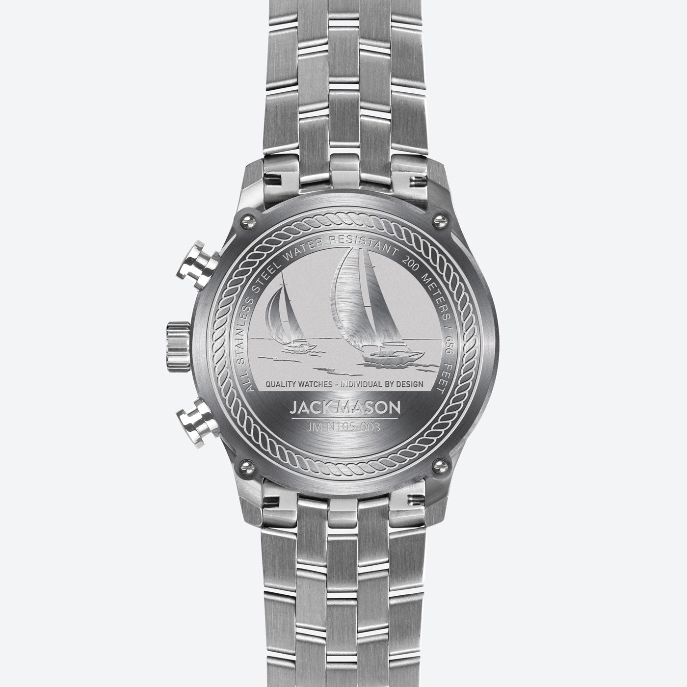 the nautical etchings on the back of the regatta timer watch by Jack Mason