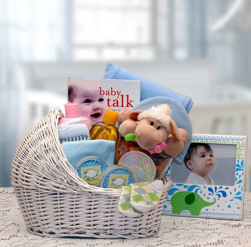 Welcome Baby Bassinet-Blue - I'm a Gift-Basket Case!