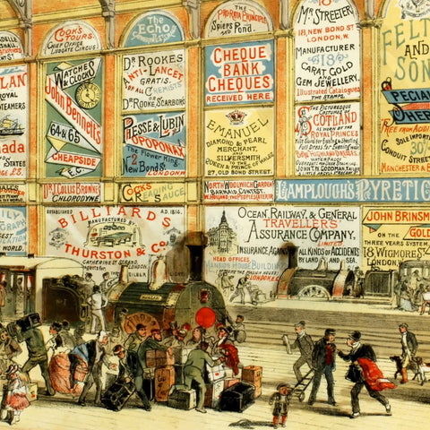 Modern Advertising: A Railway Station in 1874 (519 Pieces) Luxury Wooden Jigsaw Puzzle