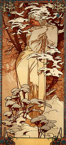 Winter by Alphonse Mucha (106 Piece Wooden Jigsaw Puzzle)