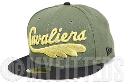 "Cleveland Cavaliers Army Olive Jet Black Metallic Gold Air Foamposite ""Olive Green"" Matching New Era Hat"