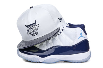 "Chicago Bulls White Ballistic Collegiate Navy Patent Air Jordan XI ""Win Like 82"" New Era Hat"