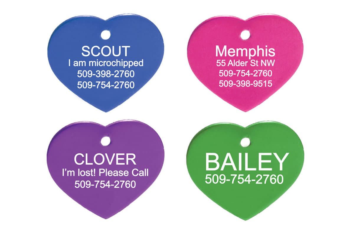 GoTags Personalized Heart Shape Pet ID Tags Custom Engraved