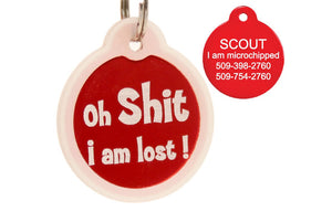 GoTags Oh Shit I'm Lost Pet ID Tags Personalized Engraved
