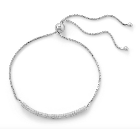 SPARKLE IS OUR FAVORITE FRIENDSHIP BOLO BRACELET IN STERLING SILVER AND PAVE CZ