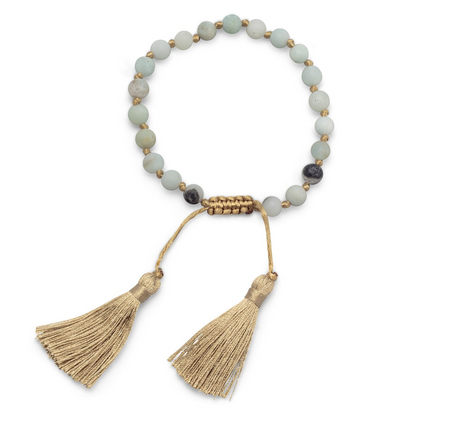 MY CLASSIC BOHO SILK TASSEL AMAZONITE ADJUSTABLE BRACELET