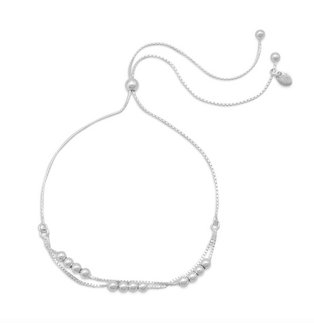 THE STEPHANIE SILVER DOUBLE STRAND BOLO BRACELET IN STERLING SILVER