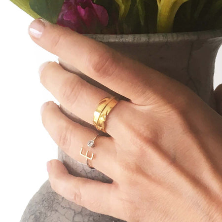 THE SEXY AND CLEAN 14K GOLD OF STERLING LEAF RING