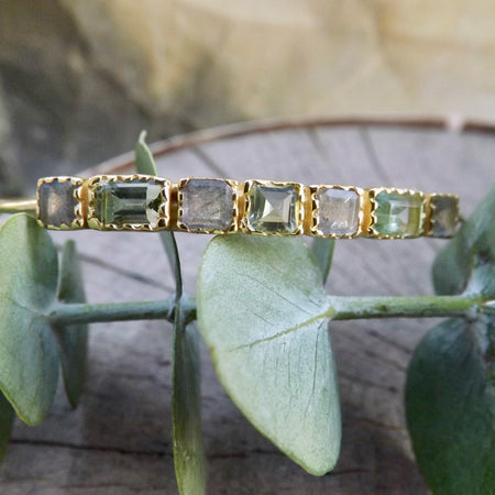 THE LOVELY AND DAINTY GOLD CHLOE LABRADORITE AND PRASIOLITE BANGLE BRACELET