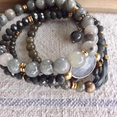THE MONICA MIXED MEDIA STRETCH STACK BRACELETS WITH GENUINE GEMSTONES
