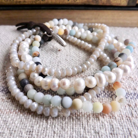 THE STELLA PEARL AND GENUINE GEMSTONE STRETCHY STACK BRACELETS