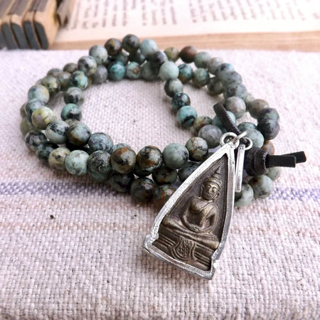 ZEN LAYERED BUDDHA CHARM STRETCH STACKING BRACELET