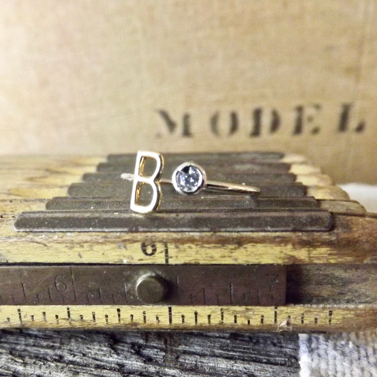 MIXED METAL POLISHED GOLD AND SILVER ADJUSTABLE INITIAL RINGS WITH CRYSTAL