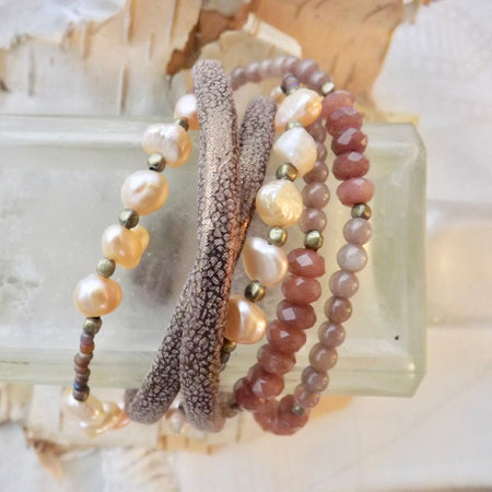 THE HARPER LEATHER BEADED MULTI LAYER MAGNETIC BRACELET