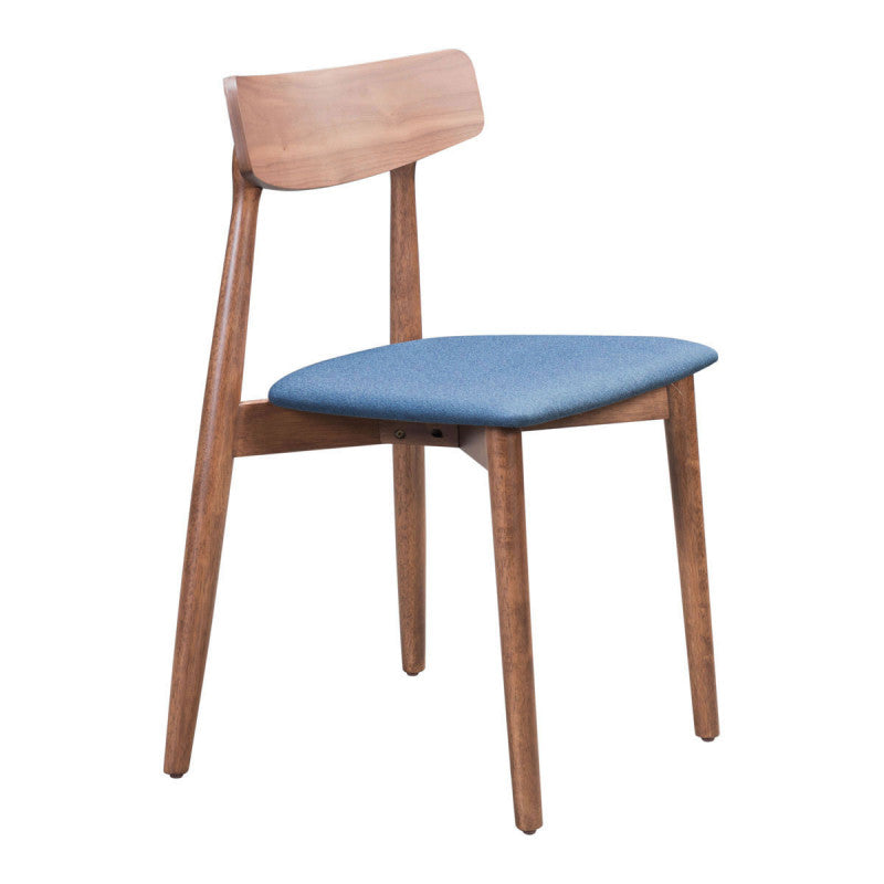 Newman Dining Chair Walnut & Ink Blue