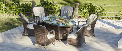 Sofia Premium Outdoor Rattan Dining Set with Gas Fire pit - 7 Pcs (PREORDER)