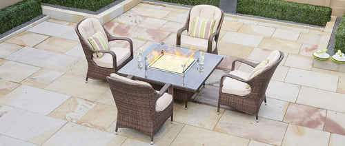 Sofia Premium Square Conversational Table With Gas Fire Pit - 5 Pcs (PREORDER)
