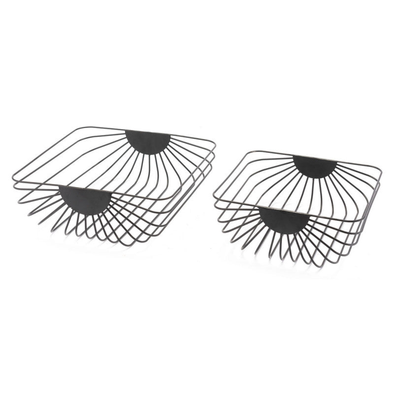 Set Of 2 Wired Trays Black Black