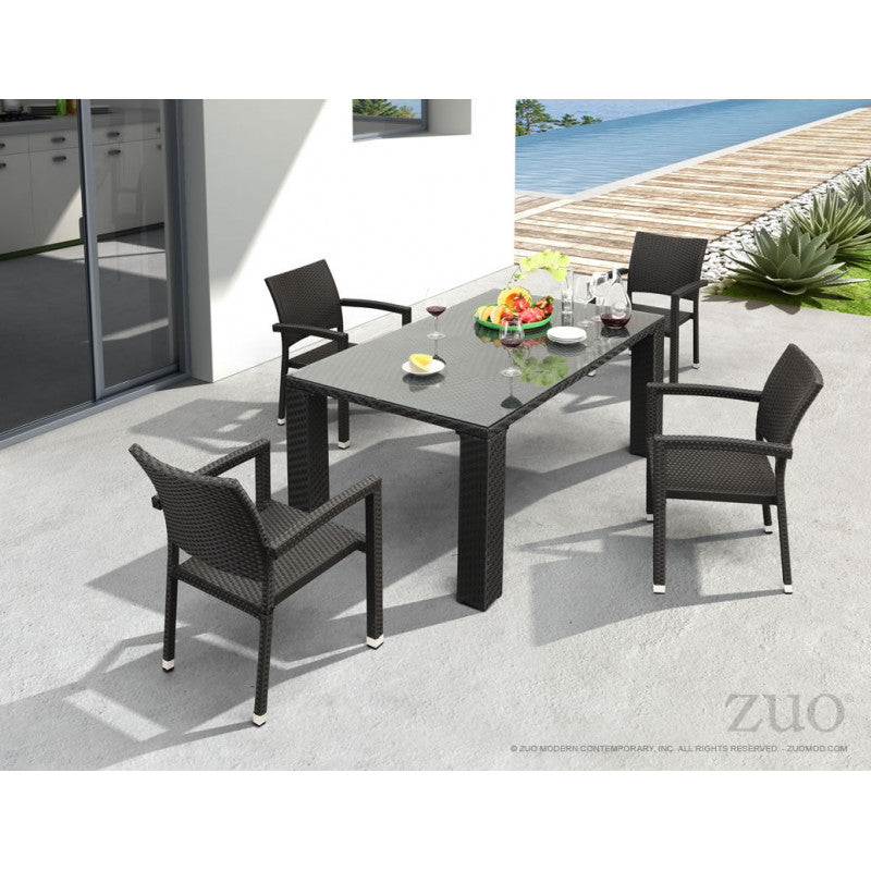 Boracay dining set in espresso manufactured by Zuo Modern. We palletize the order and offer curbside free shipping to all customers nationwide. Shop the largest Zuo Modern collection with the fastest fulfillment lead times from Mr. backyard.  Available on www.mrbackyard.com for less than other retailers.