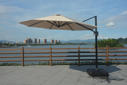 Adelle outdoor cantilever umbrella that is waterproof and built for all weather.