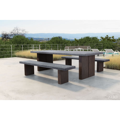 Windsor Dining Table And Benches Set - Cement & Natural