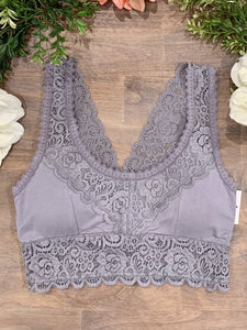 Lace Cami Bralette: Light Grey