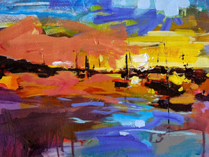 Morro Bay Harbor | 11x14 | Original Acrylic on Paper