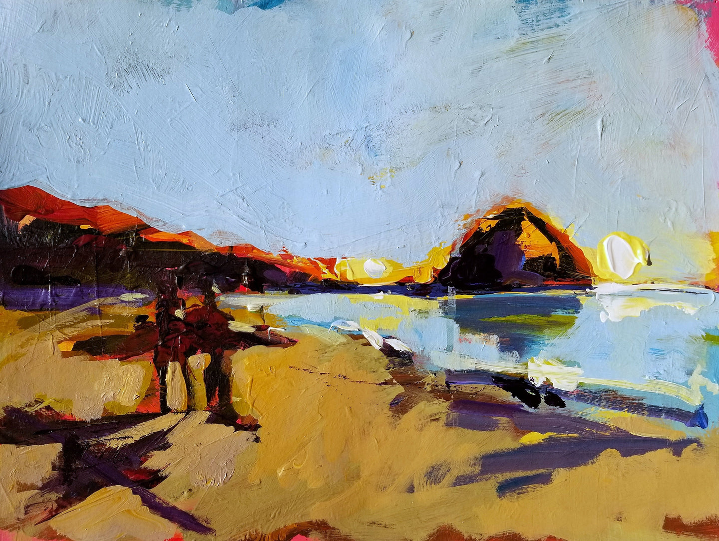Surf at the Rock - Morro Bay | 11x14 | Original Acrylic on Paper