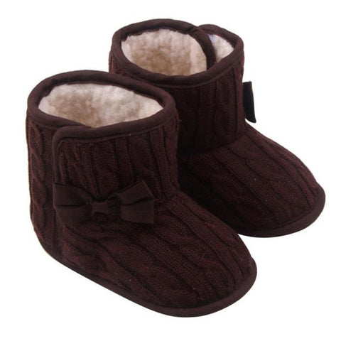 Knitted Wool Lined Bowknot Boots Soft Sole First Walkers Sizes 2.5, 3 & 4