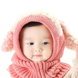 Soft Crochet Winter Hooded Scarf Set Cartoon Long Eared Rabbit