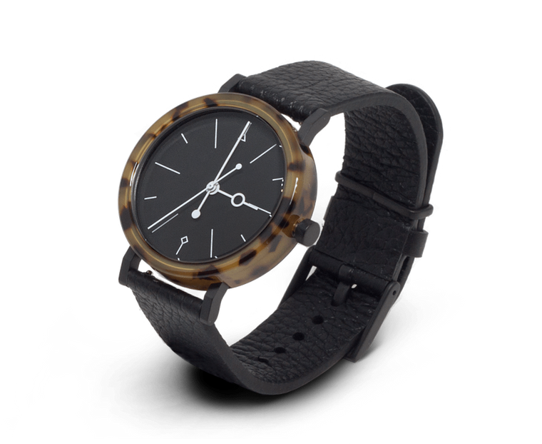 Aark Collective Shell watch in Brown & Black