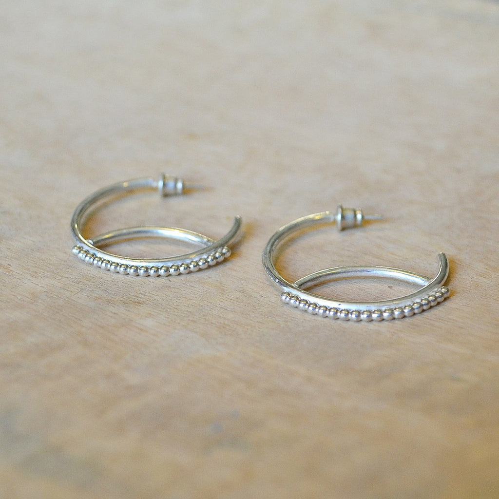 Silver Moonshadow Hoops