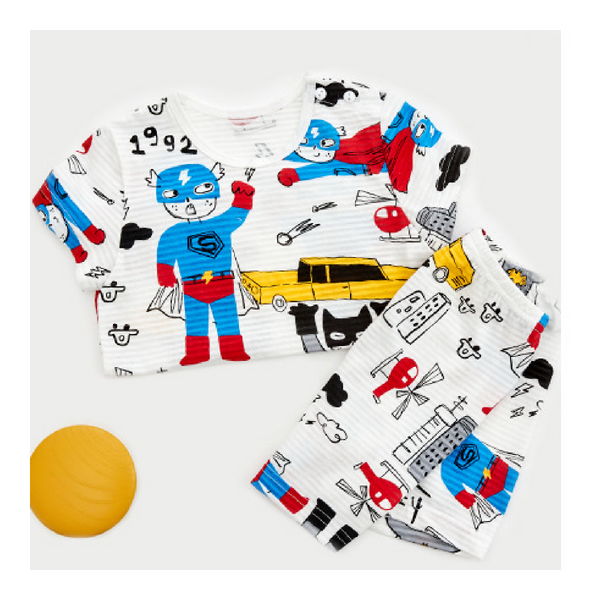 Organic Cotton Short Sleeve Homewear - Superhero