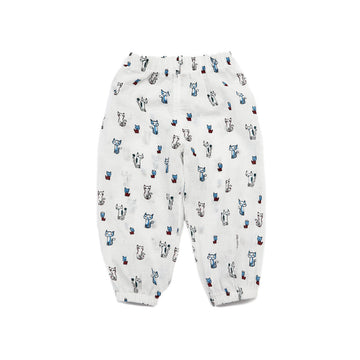 Summer Toddler Pant - White Colour with Cat